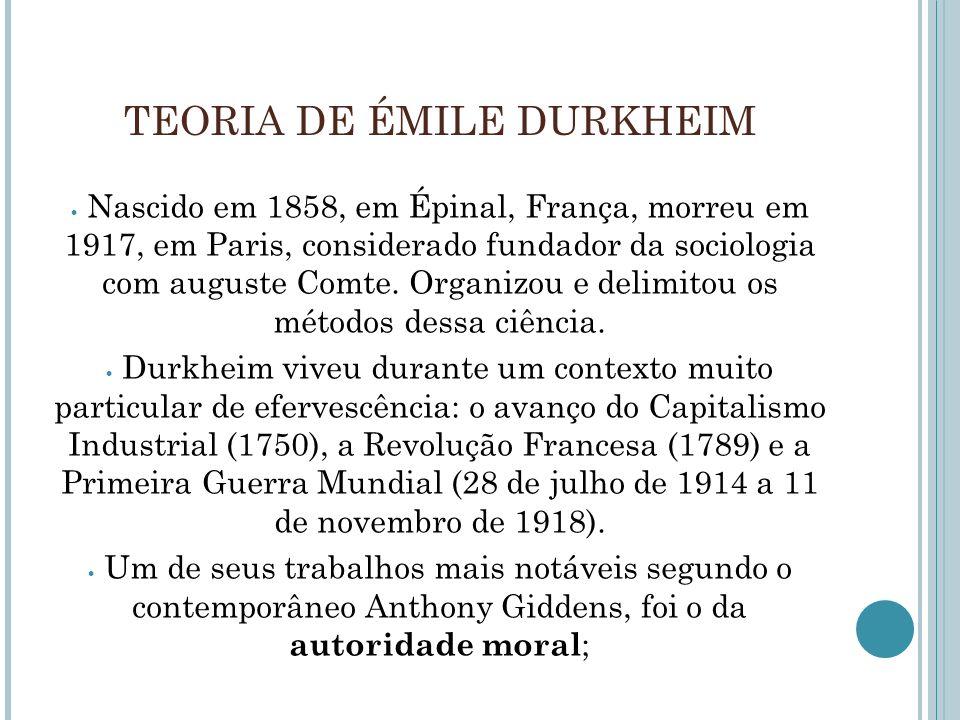 TEORIA DE ÉMILE DURKHEIM Nascido em 1858, em Épinal, França, morreu em 1917, em Paris, considerado fundador da sociologia com auguste Comte. Organizou