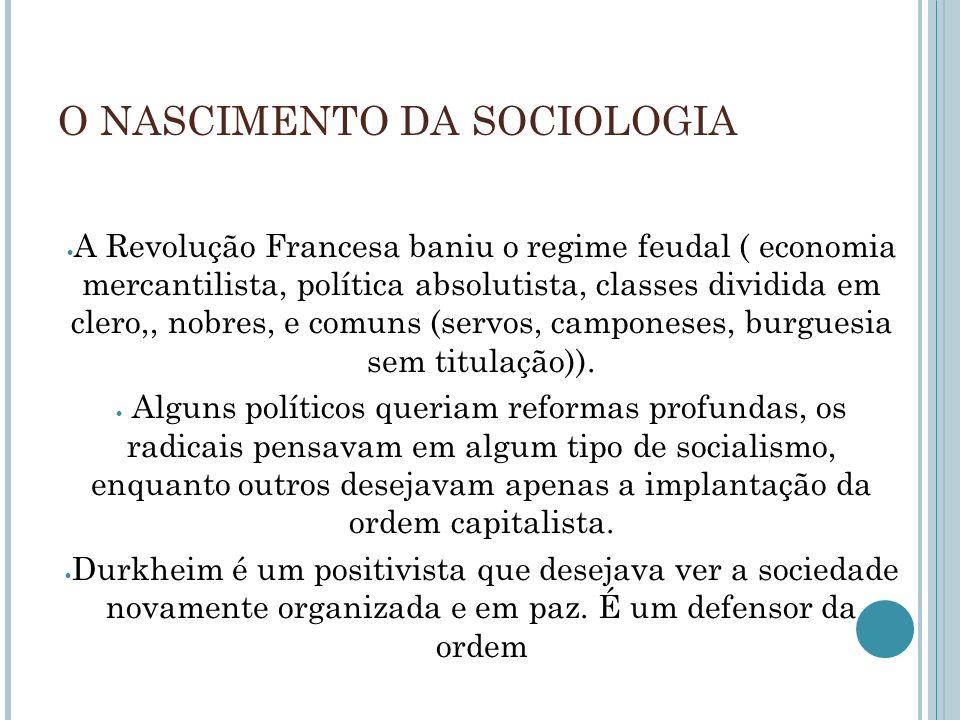 O NASCIMENTO DA SOCIOLOGIA A Revolução Francesa baniu o regime feudal ( economia mercantilista, política absolutista, classes dividida em clero,, nobr