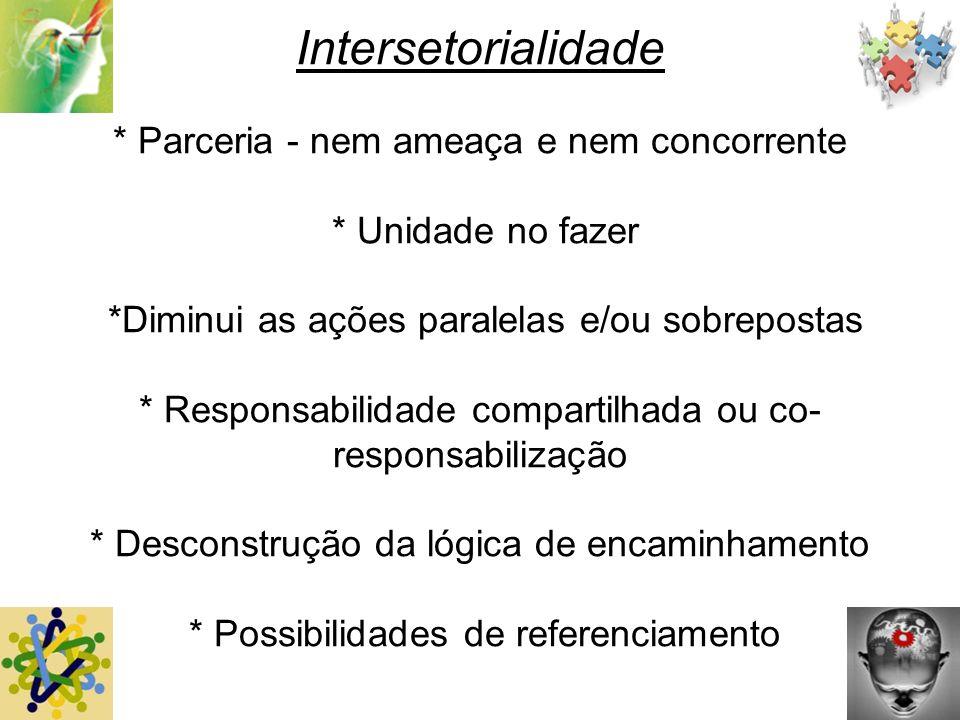 Intersetorialidade * Parceria - nem ameaça e nem concorrente * Unidade no fazer *Diminui as ações paralelas e/ou sobrepostas * Responsabilidade compar