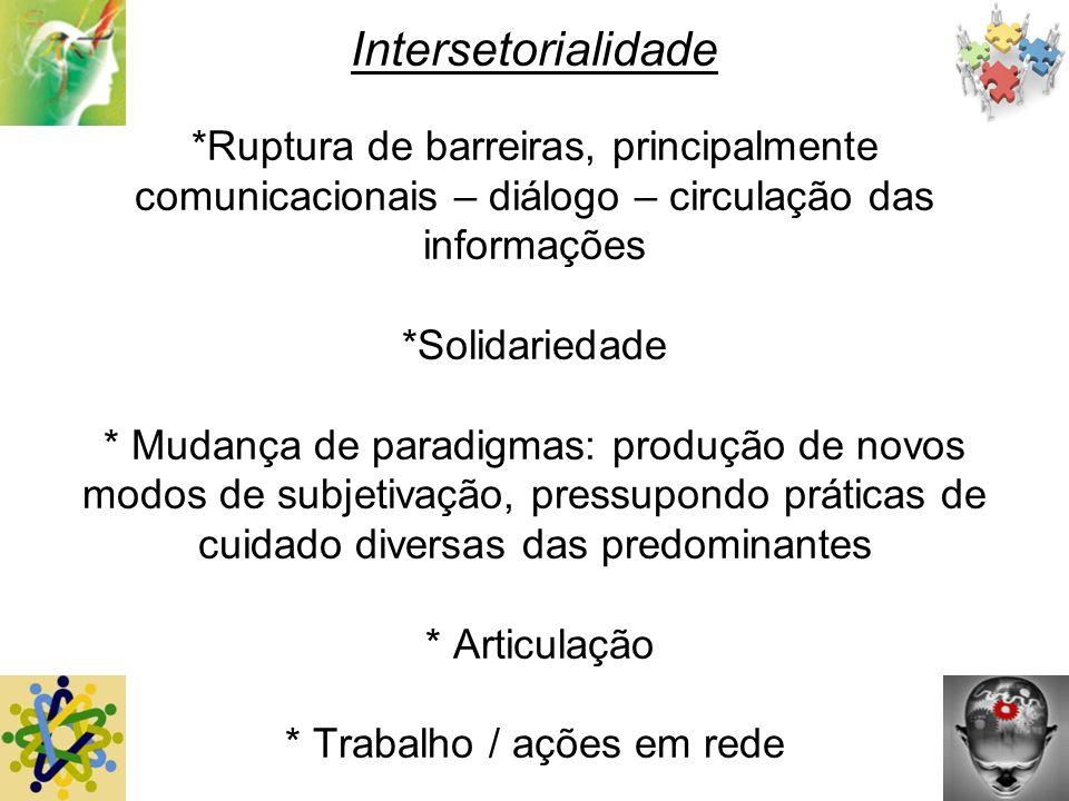 Intersetorialidade *Ruptura de barreiras, principalmente comunicacionais – diálogo – circulação das informações *Solidariedade * Mudança de paradigmas
