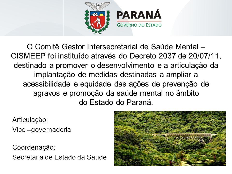 O Comitê Gestor Intersecretarial de Saúde Mental – CISMEEP foi instituído através do Decreto 2037 de 20/07/11, destinado a promover o desenvolvimento