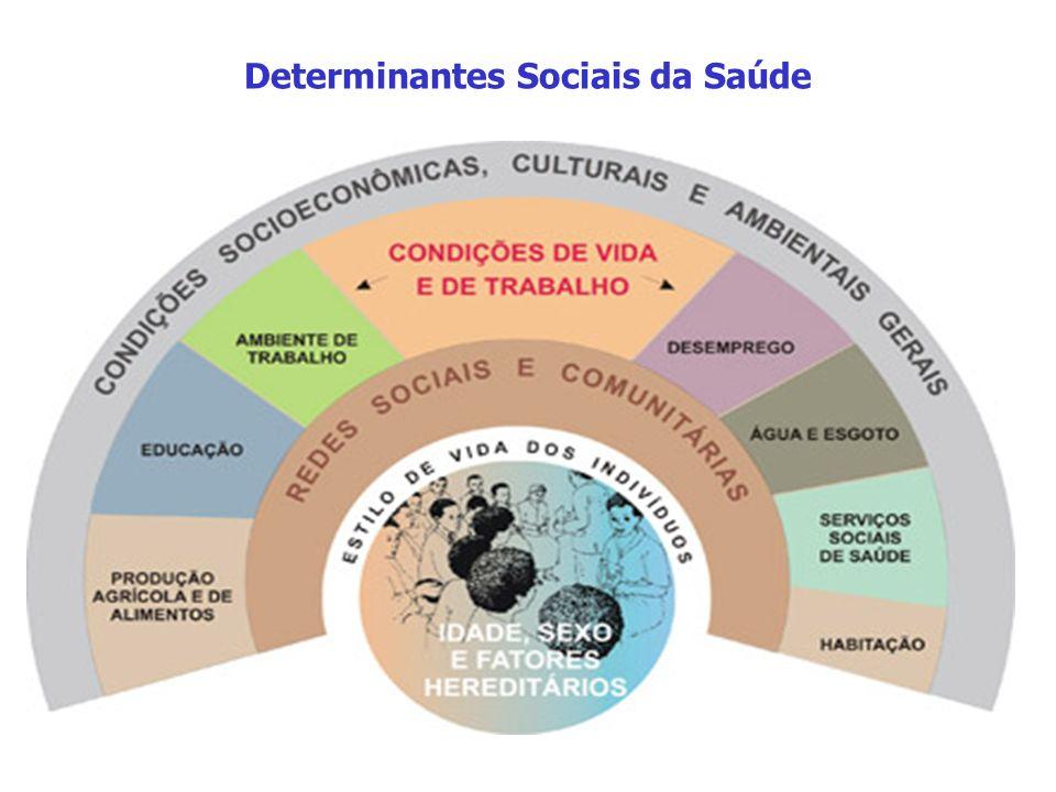Determinantes Sociais da Saúde Conceito de Saúde no SUS A Saúde tem como fatores determinantes e condicionantes, entre outros, a alimentação, a moradi