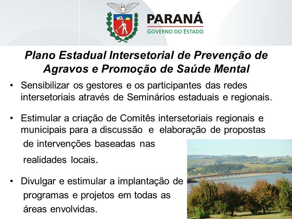 Plano Estadual Intersetorial de Prevenção de Agravos e Promoção de Saúde Mental Sensibilizar os gestores e os participantes das redes intersetoriais a