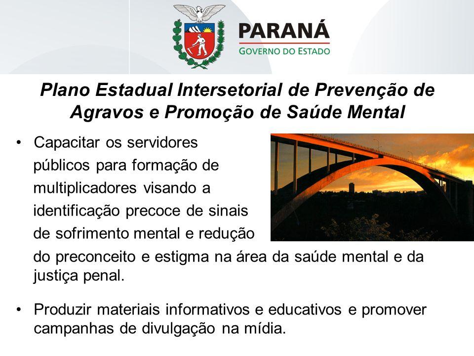 Plano Estadual Intersetorial de Prevenção de Agravos e Promoção de Saúde Mental Capacitar os servidores públicos para formação de multiplicadores visa