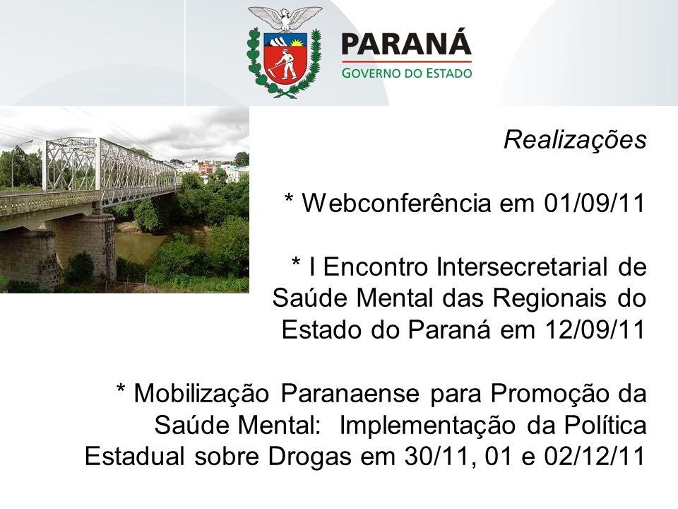 Realizações * Webconferência em 01/09/11 * I Encontro Intersecretarial de Saúde Mental das Regionais do Estado do Paraná em 12/09/11 * Mobilização Par