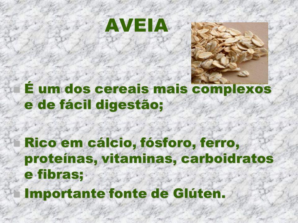 AVEIA n É um dos cereais mais complexos e de fácil digestão; n Rico em cálcio, fósforo, ferro, proteínas, vitaminas, carboidratos e fibras; n Importan