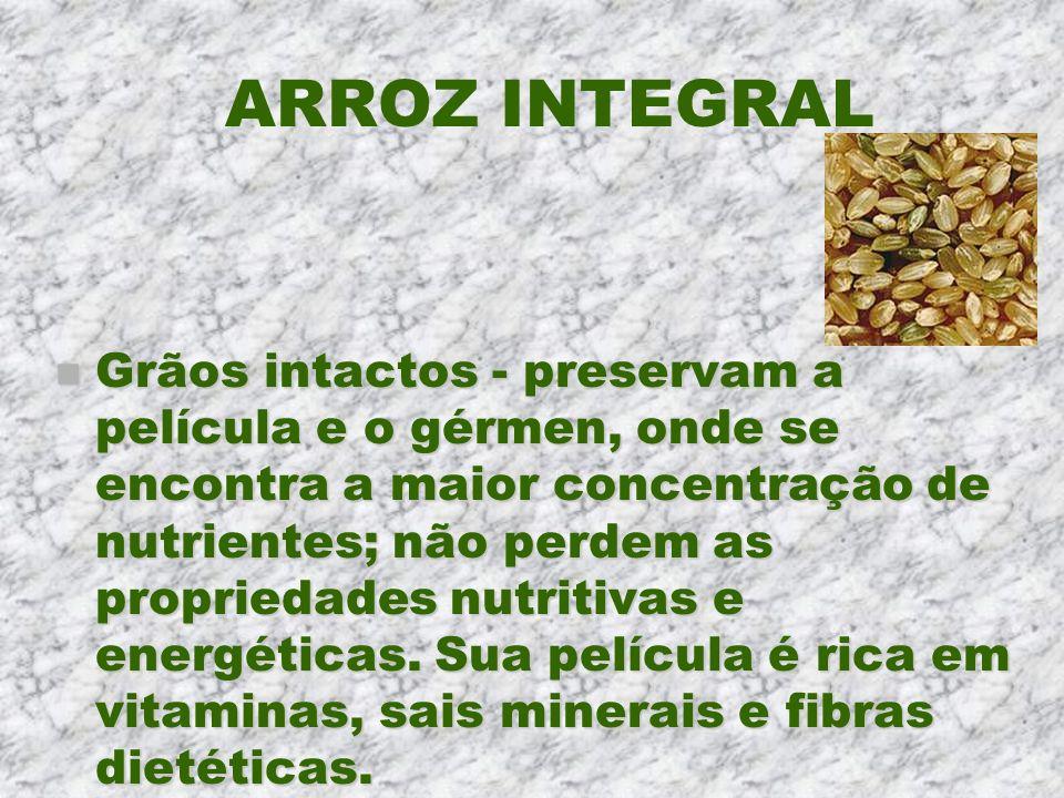 ARROZ INTEGRAL n Grãos intactos - preservam a película e o gérmen, onde se encontra a maior concentração de nutrientes; não perdem as propriedades nut