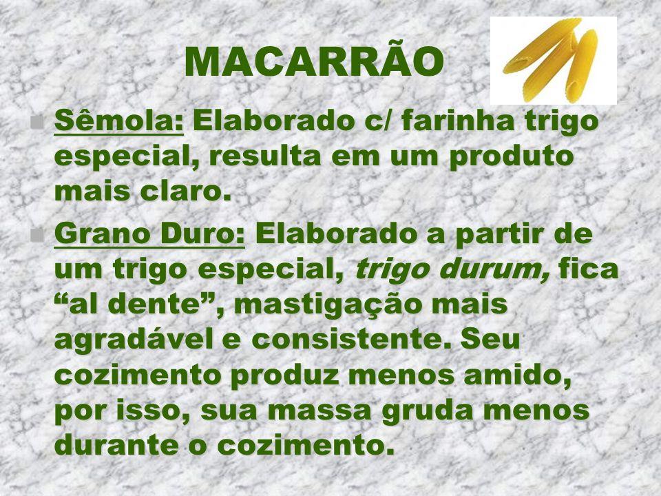 MACARRÃO n Sêmola: Elaborado c/ farinha trigo especial, resulta em um produto mais claro. n Grano Duro: Elaborado a partir de um trigo especial, trigo