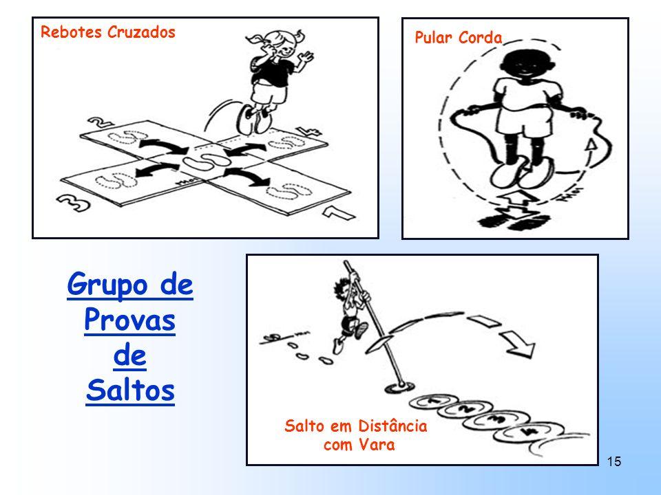 15 Grupo de Provas de Saltos Salto em Distância com Vara Rebotes Cruzados Pular Corda