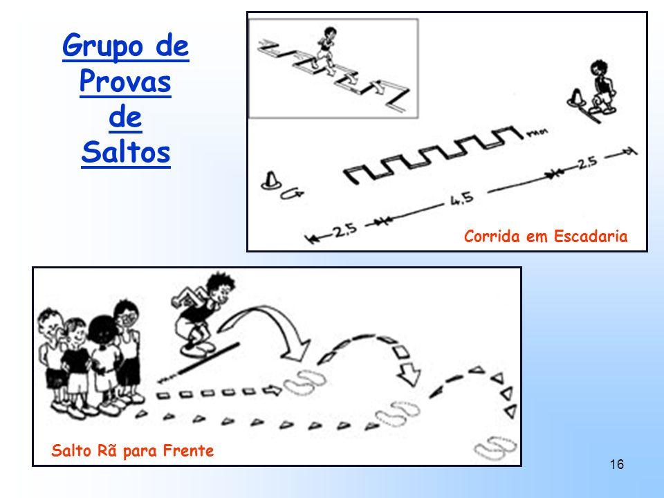 16 Grupo de Provas de Saltos Corrida em Escadaria Salto Rã para Frente