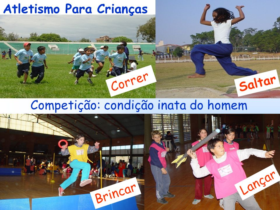 3 Requisitos do Mini-Atletismo Oferecer às Crianças um Atletismo: Não Uma versão em miniatura do Programa de Atletismo dos Adultos *Atrativo *Acessível *Instrutivo
