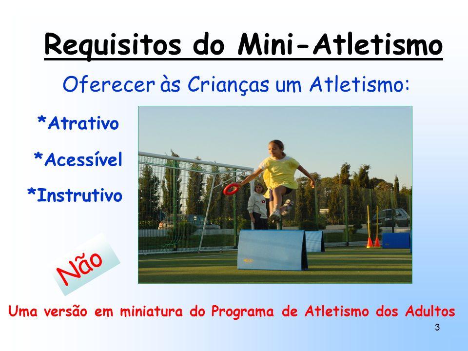 3 Requisitos do Mini-Atletismo Oferecer às Crianças um Atletismo: Não Uma versão em miniatura do Programa de Atletismo dos Adultos *Atrativo *Acessíve