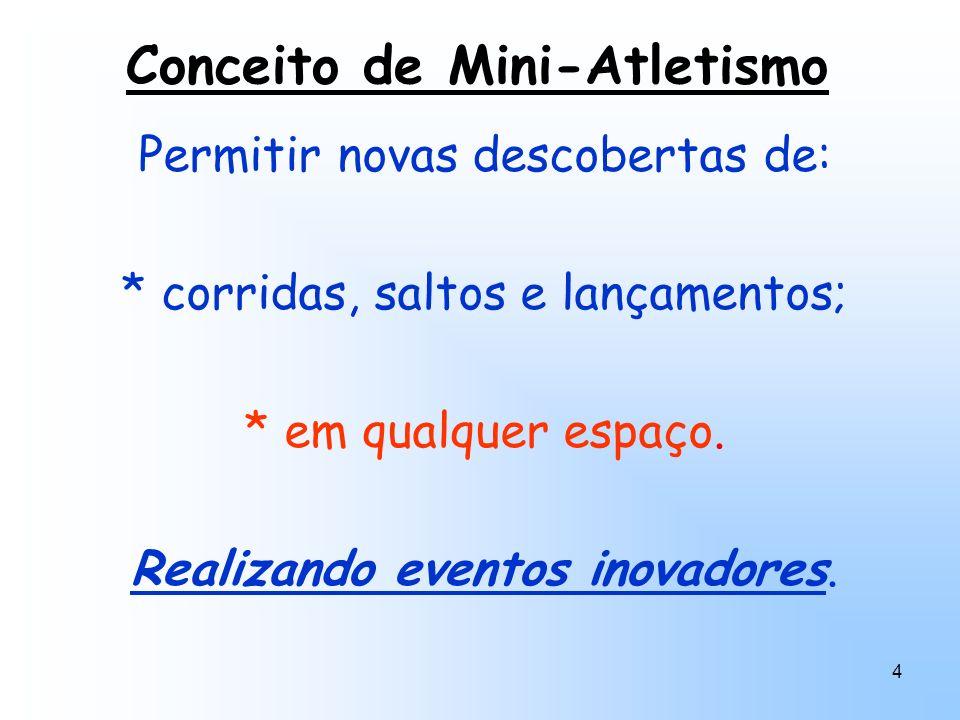 4 Conceito de Mini-Atletismo Permitir novas descobertas de: * corridas, saltos e lançamentos; * em qualquer espaço. Realizando eventos inovadores.