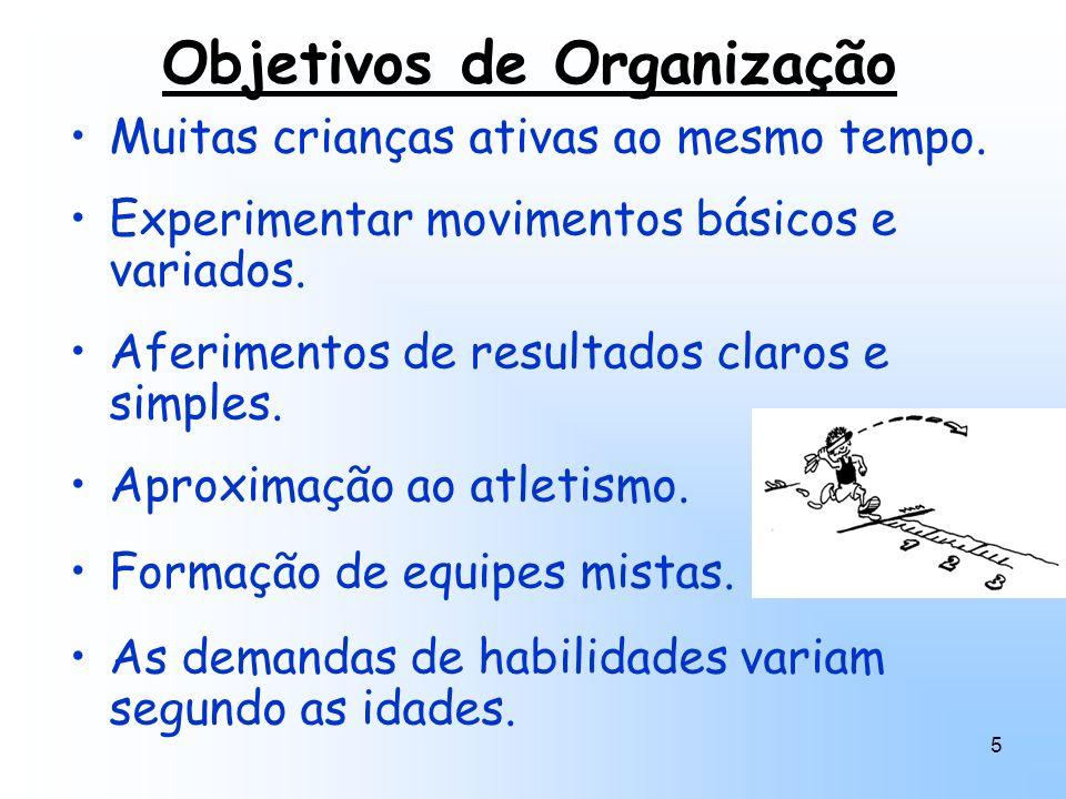 5 Objetivos de Organização Muitas crianças ativas ao mesmo tempo. Experimentar movimentos básicos e variados. Aferimentos de resultados claros e simpl