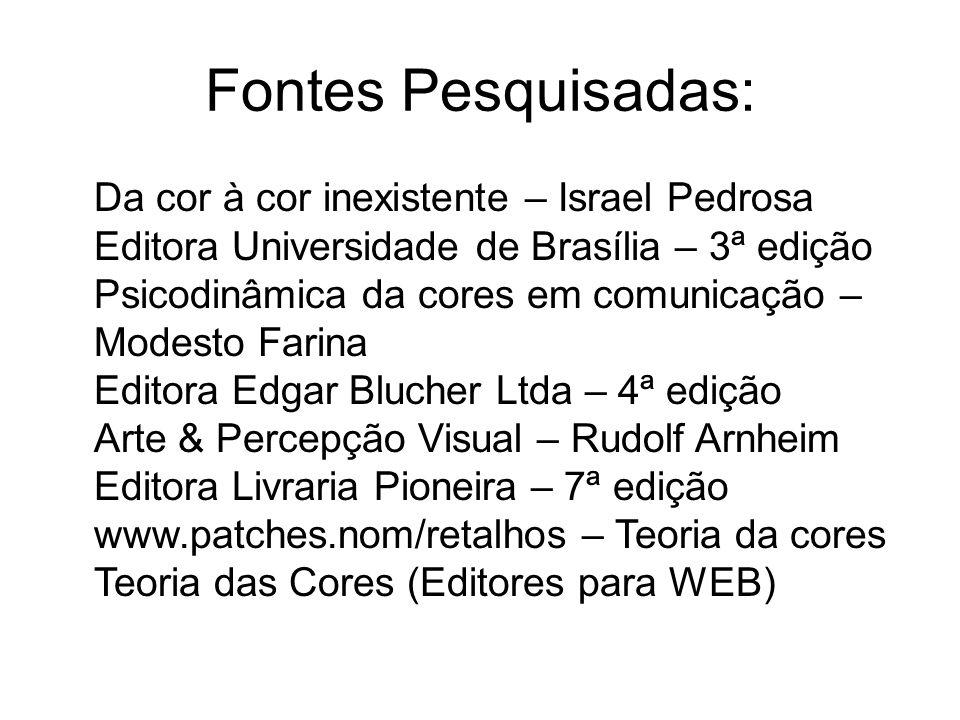 Fontes Pesquisadas: Da cor à cor inexistente – Israel Pedrosa Editora Universidade de Brasília – 3ª edição Psicodinâmica da cores em comunicação – Mod