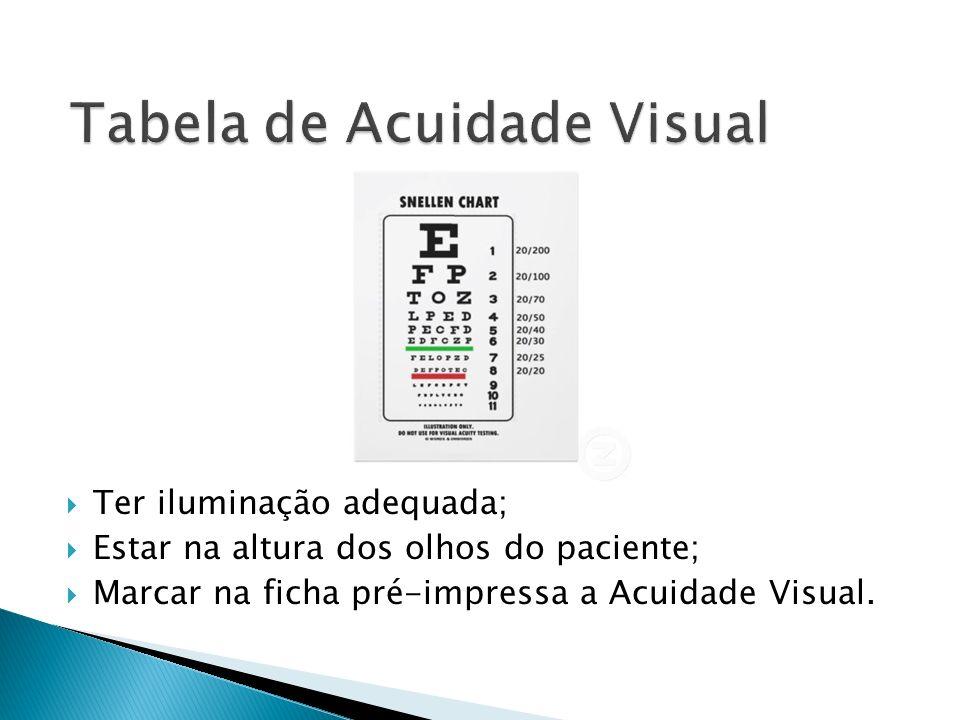 Primeiro ocluir o olho esquerdo depois o olho direito; Verificar se realmente ocluiu a visão totalmente.