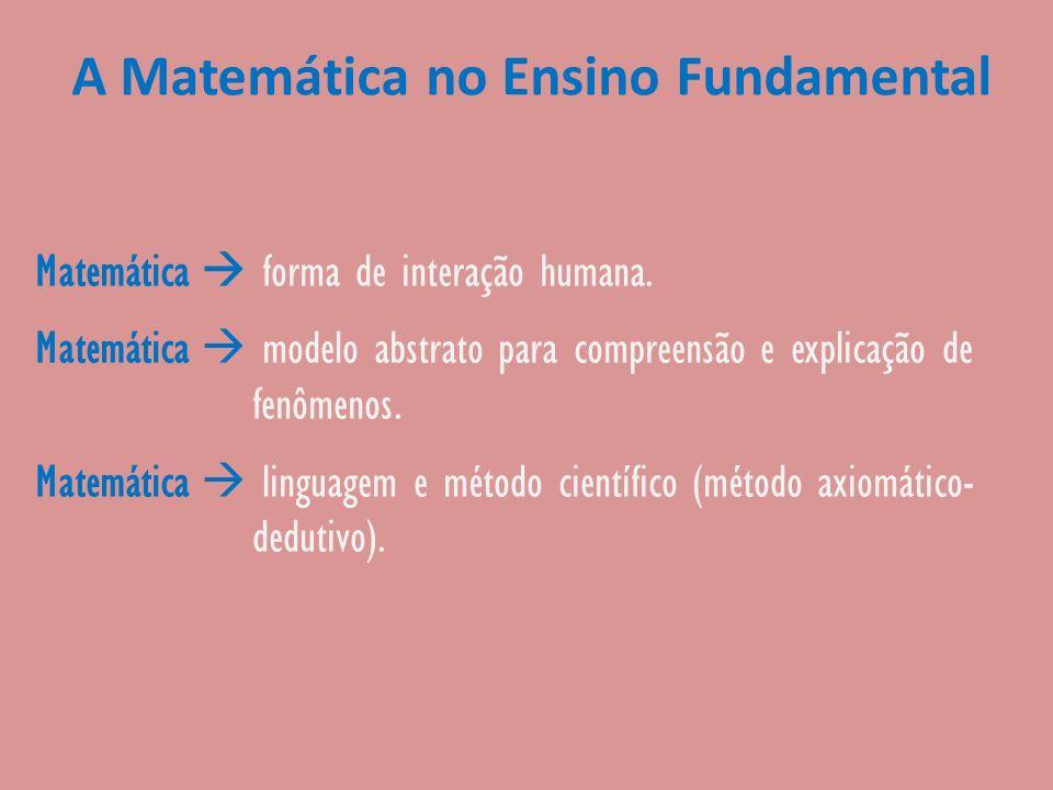 A Matemática no Ensino Fundamental Matemática forma de interação humana. Matemática modelo abstrato para compreensão e explicação de fenômenos. Matemá