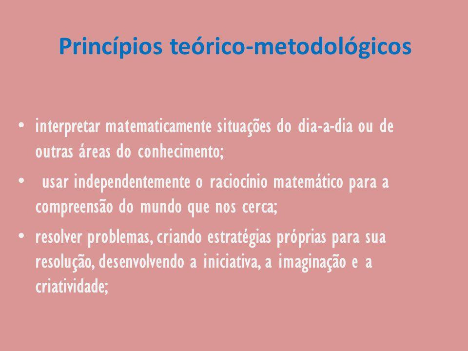 Princípios teórico-metodológicos interpretar matematicamente situações do dia-a-dia ou de outras áreas do conhecimento; usar independentemente o racio