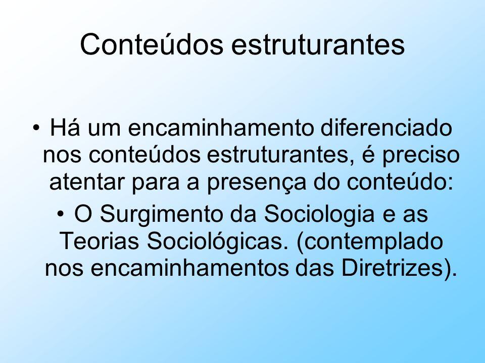 Conteúdos estruturantes Há um encaminhamento diferenciado nos conteúdos estruturantes, é preciso atentar para a presença do conteúdo: O Surgimento da