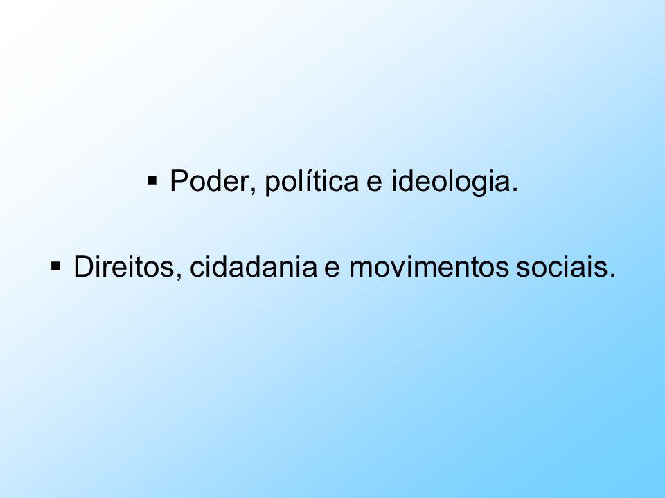 Poder, política e ideologia. Direitos, cidadania e movimentos sociais.