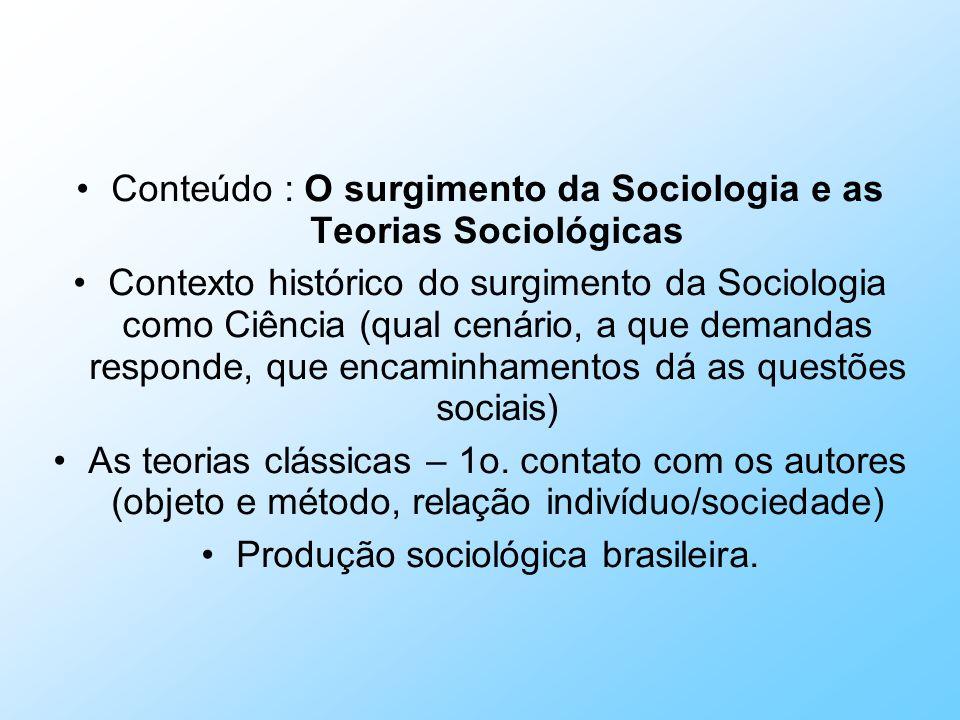 Conteúdo : O surgimento da Sociologia e as Teorias Sociológicas Contexto histórico do surgimento da Sociologia como Ciência (qual cenário, a que deman