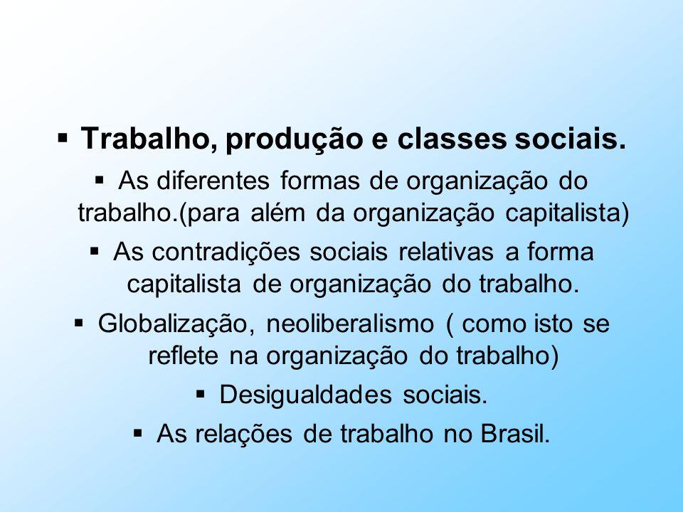 Trabalho, produção e classes sociais. As diferentes formas de organização do trabalho.(para além da organização capitalista) As contradições sociais r