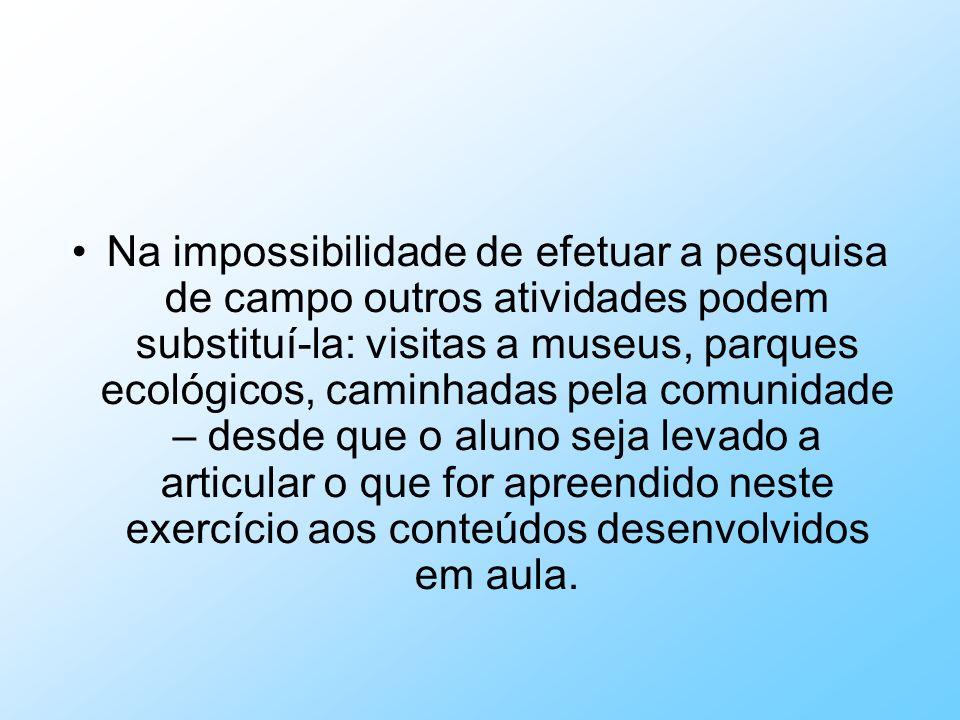 Na impossibilidade de efetuar a pesquisa de campo outros atividades podem substituí-la: visitas a museus, parques ecológicos, caminhadas pela comunida