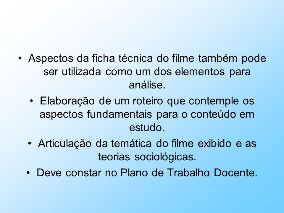 Aspectos da ficha técnica do filme também pode ser utilizada como um dos elementos para análise. Elaboração de um roteiro que contemple os aspectos fu
