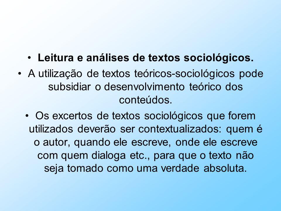 Leitura e análises de textos sociológicos. A utilização de textos teóricos-sociológicos pode subsidiar o desenvolvimento teórico dos conteúdos. Os exc