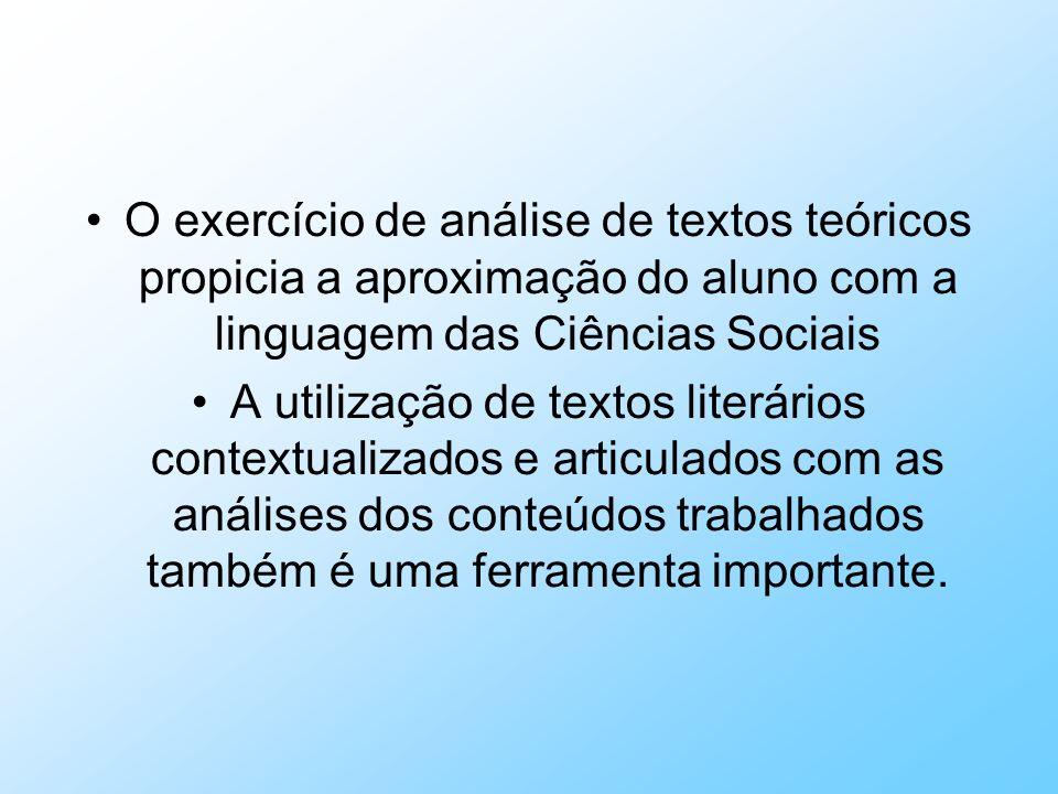 O exercício de análise de textos teóricos propicia a aproximação do aluno com a linguagem das Ciências Sociais A utilização de textos literários conte