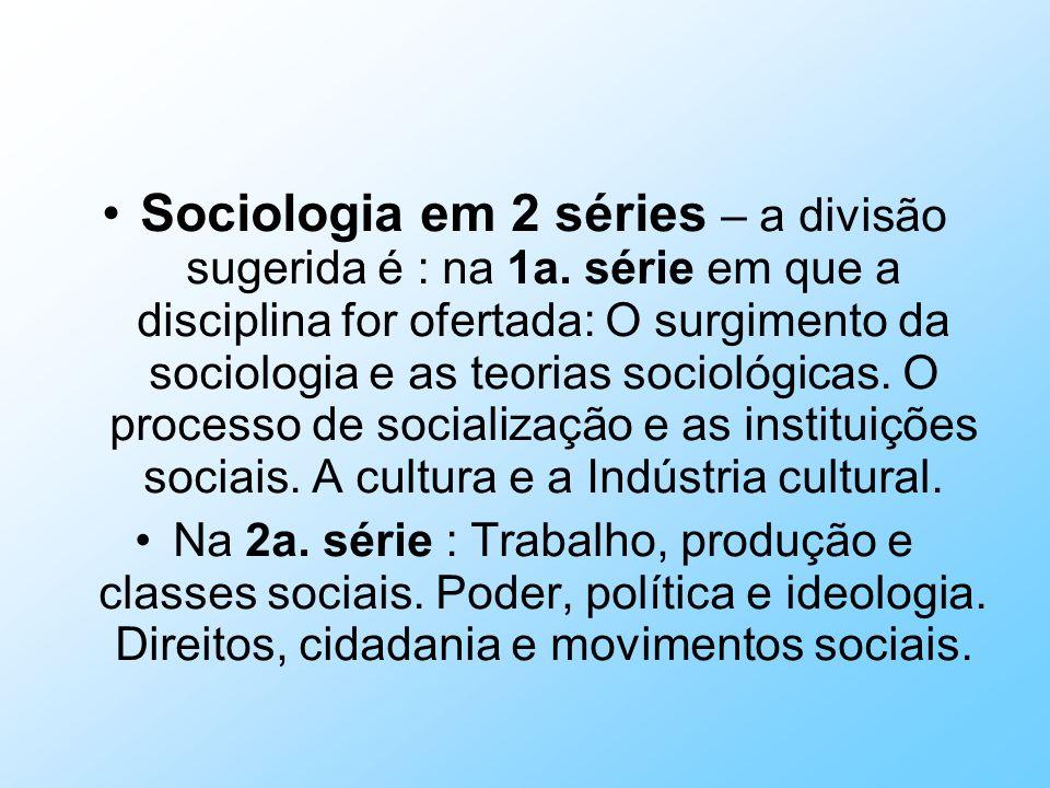 Sociologia em 2 séries – a divisão sugerida é : na 1a. série em que a disciplina for ofertada: O surgimento da sociologia e as teorias sociológicas. O