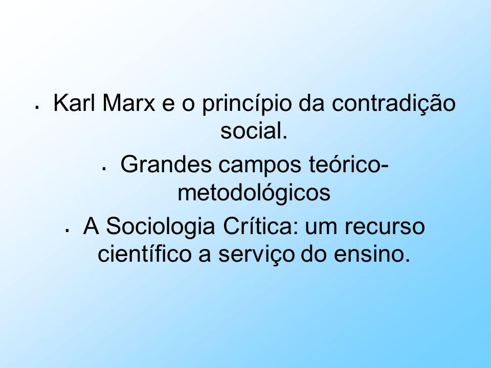 Karl Marx e o princípio da contradição social. Grandes campos teórico- metodológicos A Sociologia Crítica: um recurso científico a serviço do ensino.