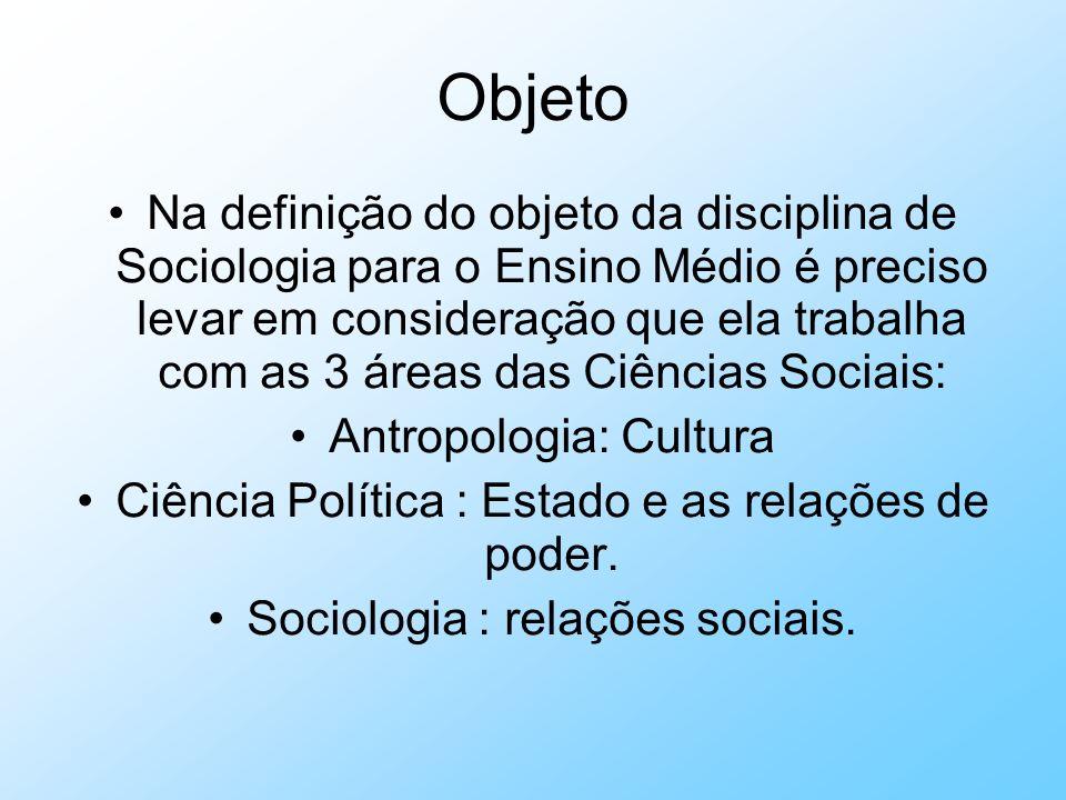 Objeto Na definição do objeto da disciplina de Sociologia para o Ensino Médio é preciso levar em consideração que ela trabalha com as 3 áreas das Ciên