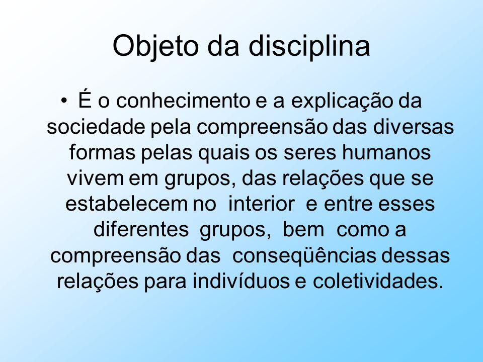 Objeto da disciplina É o conhecimento e a explicação da sociedade pela compreensão das diversas formas pelas quais os seres humanos vivem em grupos, d