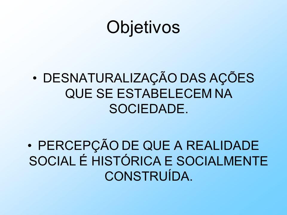 Objetivos DESNATURALIZAÇÃO DAS AÇÕES QUE SE ESTABELECEM NA SOCIEDADE. PERCEPÇÃO DE QUE A REALIDADE SOCIAL É HISTÓRICA E SOCIALMENTE CONSTRUÍDA.