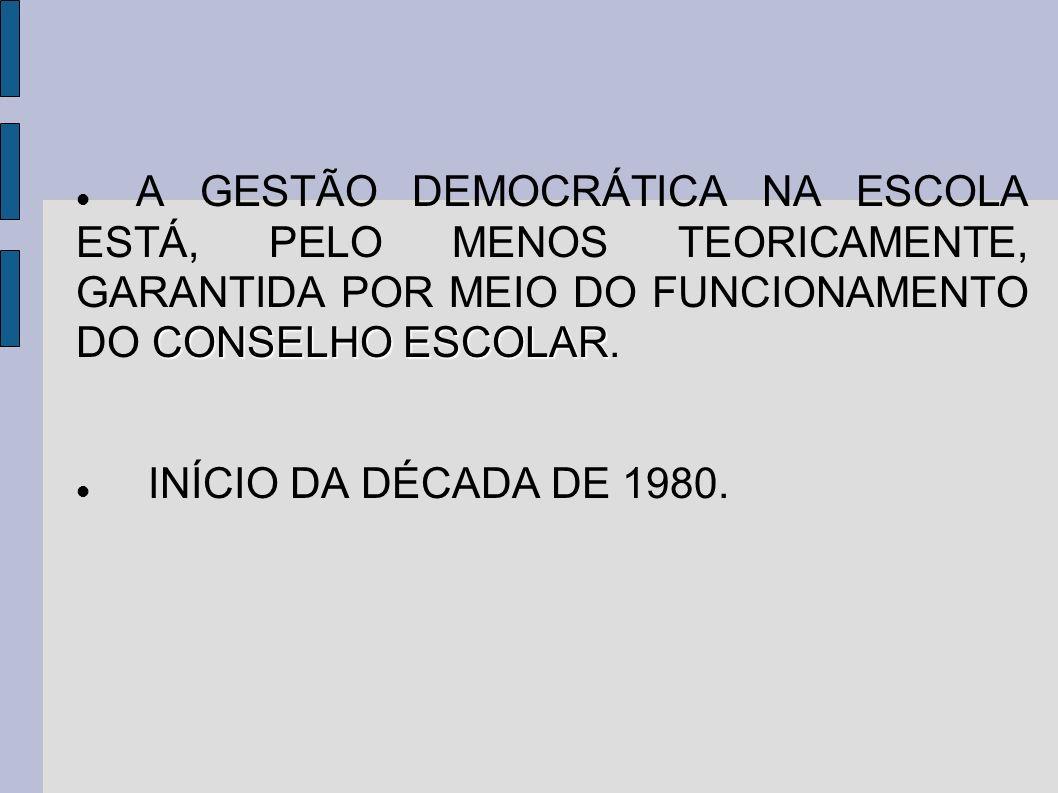 CONSELHO ESCOLAR A GESTÃO DEMOCRÁTICA NA ESCOLA ESTÁ, PELO MENOS TEORICAMENTE, GARANTIDA POR MEIO DO FUNCIONAMENTO DO CONSELHO ESCOLAR. INÍCIO DA DÉCA