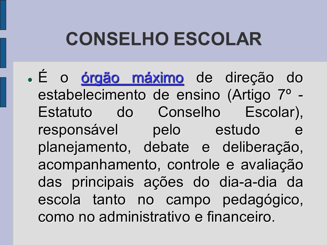 CONSELHO ESCOLAR É o órgão máximo de direção do estabelecimento de ensino (Artigo 7º - Estatuto do Conselho Escolar), responsável pelo estudo e planej