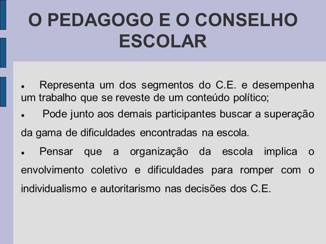 O PEDAGOGO E O CONSELHO ESCOLAR Representa um dos segmentos do C.E. e desempenha um trabalho que se reveste de um conteúdo político; Pode junto aos de