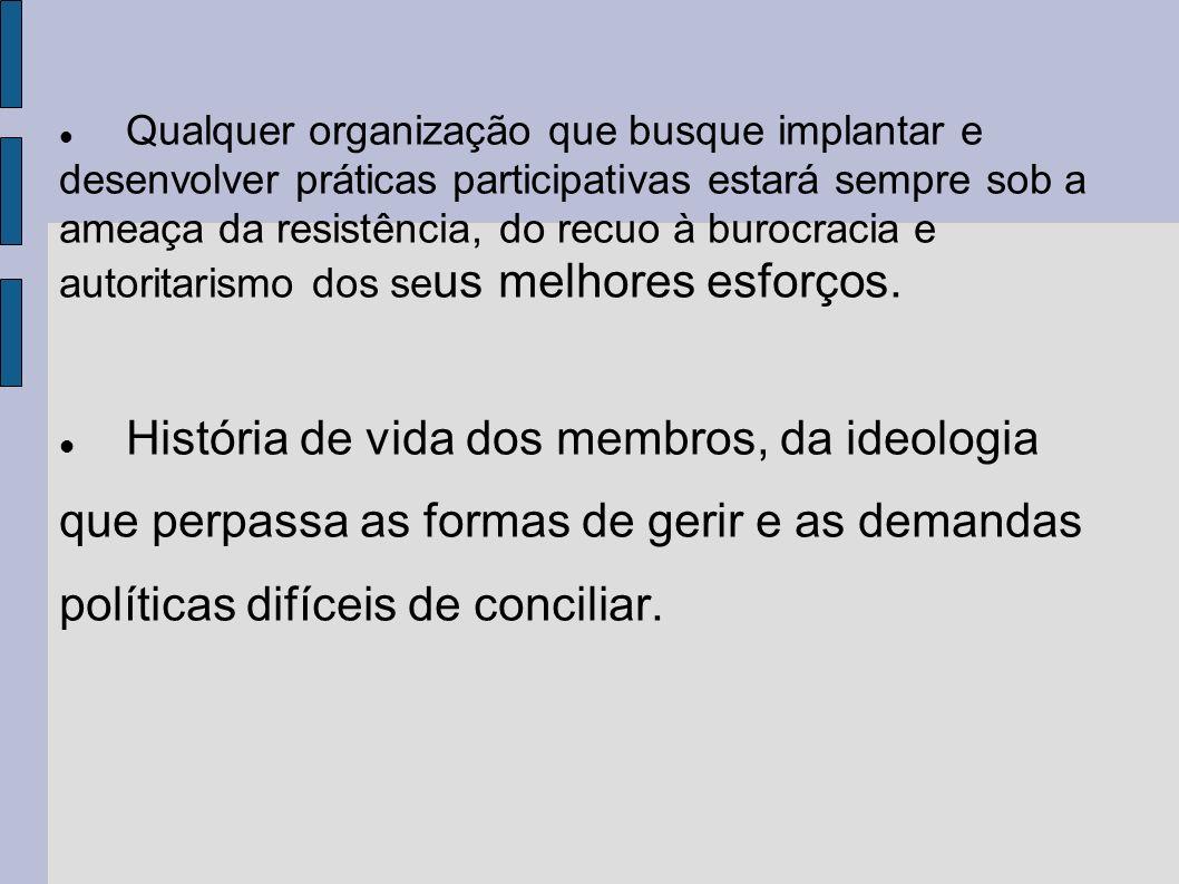 Qualquer organização que busque implantar e desenvolver práticas participativas estará sempre sob a ameaça da resistência, do recuo à burocracia e autoritarismo dos se us melhores esforços.