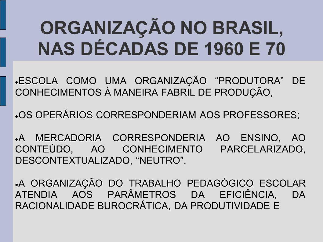 ORGANIZAÇÃO NO BRASIL, NAS DÉCADAS DE 1960 E 70 ESCOLA ESCOLA COMO UMA ORGANIZAÇÃO PRODUTORA DE CONHECIMENTOS À MANEIRA FABRIL DE PRODUÇÃO, OPERÁRIOS OS OPERÁRIOS CORRESPONDERIAM AOS PROFESSORES; MERCADORIA A MERCADORIA CORRESPONDERIA AO ENSINO, AO CONTEÚDO, AO CONHECIMENTO PARCELARIZADO, DESCONTEXTUALIZADO, NEUTRO.