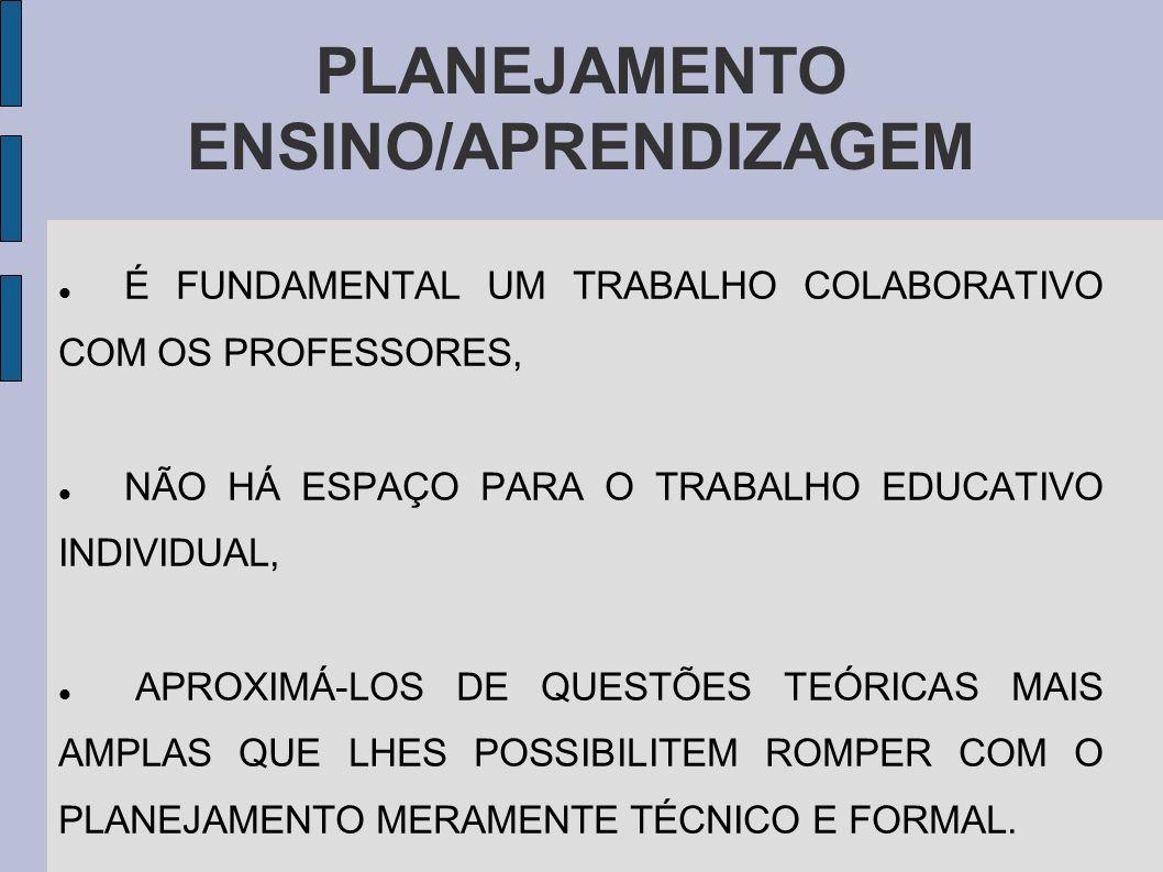 PLANEJAMENTO ENSINO/APRENDIZAGEM É FUNDAMENTAL UM TRABALHO COLABORATIVO COM OS PROFESSORES, NÃO HÁ ESPAÇO PARA O TRABALHO EDUCATIVO INDIVIDUAL, APROXI
