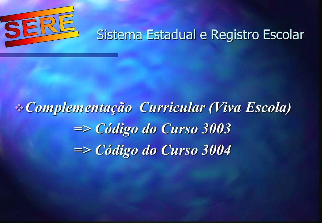 Sistema Estadual e Registro Escolar Sistema Estadual e Registro Escolar Complementação Curricular (Viva Escola) Complementação Curricular (Viva Escola
