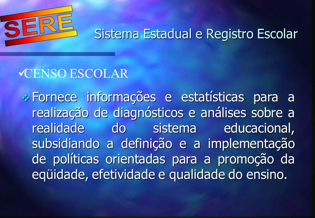 Sistema Estadual e Registro Escolar Sistema Estadual e Registro Escolar CENSO ESCOLAR Fornece informações e estatísticas para a realização de diagnóst