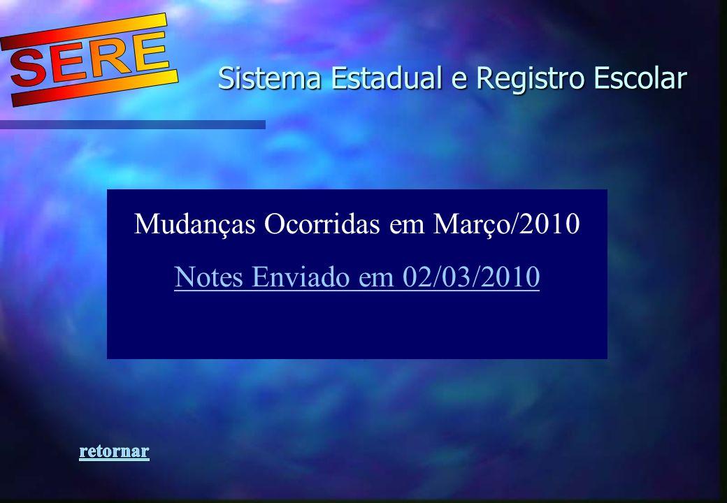 Sistema Estadual e Registro Escolar Sistema Estadual e Registro Escolar Mudanças Ocorridas em Março/2010 Notes Enviado em 02/03/2010