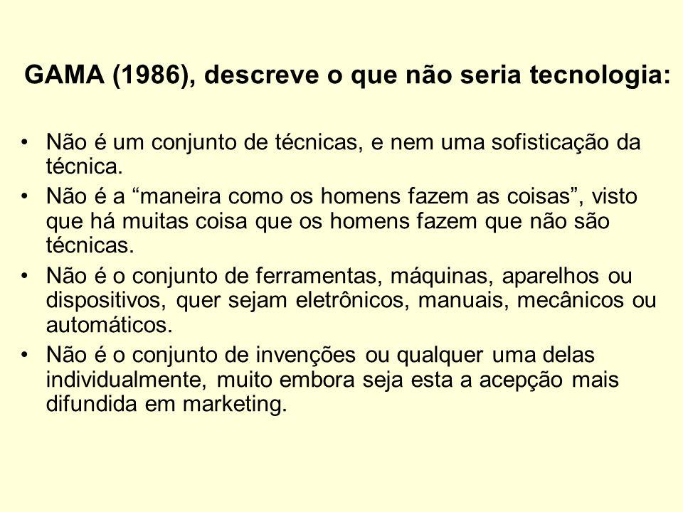 GAMA (1986), descreve o que não seria tecnologia: Não é um conjunto de técnicas, e nem uma sofisticação da técnica. Não é a maneira como os homens faz