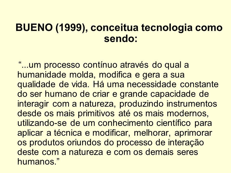 BUENO (1999), conceitua tecnologia como sendo:...um processo contínuo através do qual a humanidade molda, modifica e gera a sua qualidade de vida. Há