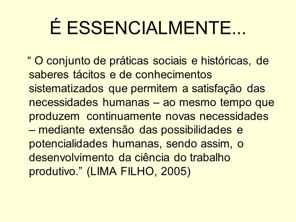 É ESSENCIALMENTE... O conjunto de práticas sociais e históricas, de saberes tácitos e de conhecimentos sistematizados que permitem a satisfação das ne