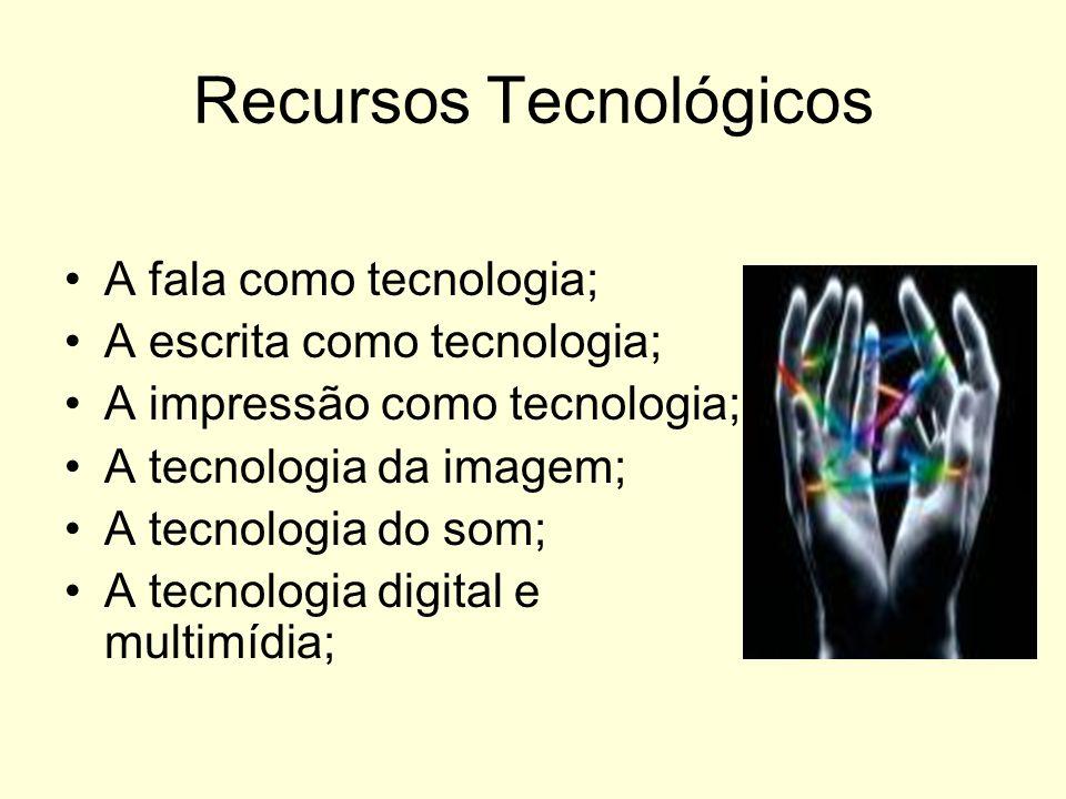 Recursos Tecnológicos A fala como tecnologia; A escrita como tecnologia; A impressão como tecnologia; A tecnologia da imagem; A tecnologia do som; A t