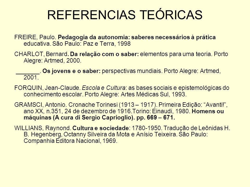 FREIRE, Paulo. Pedagogia da autonomia: saberes necessários à prática educativa. São Paulo: Paz e Terra, 1998 CHARLOT, Bernard. Da relação com o saber: