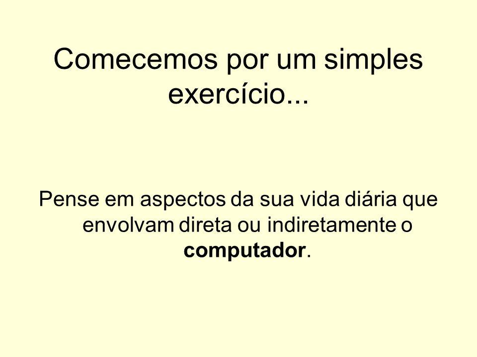 Comecemos por um simples exercício... Pense em aspectos da sua vida diária que envolvam direta ou indiretamente o computador.